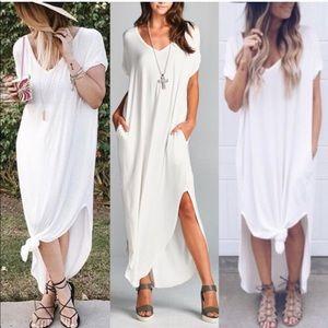 CHARLIZE solid boho dress - IVORY